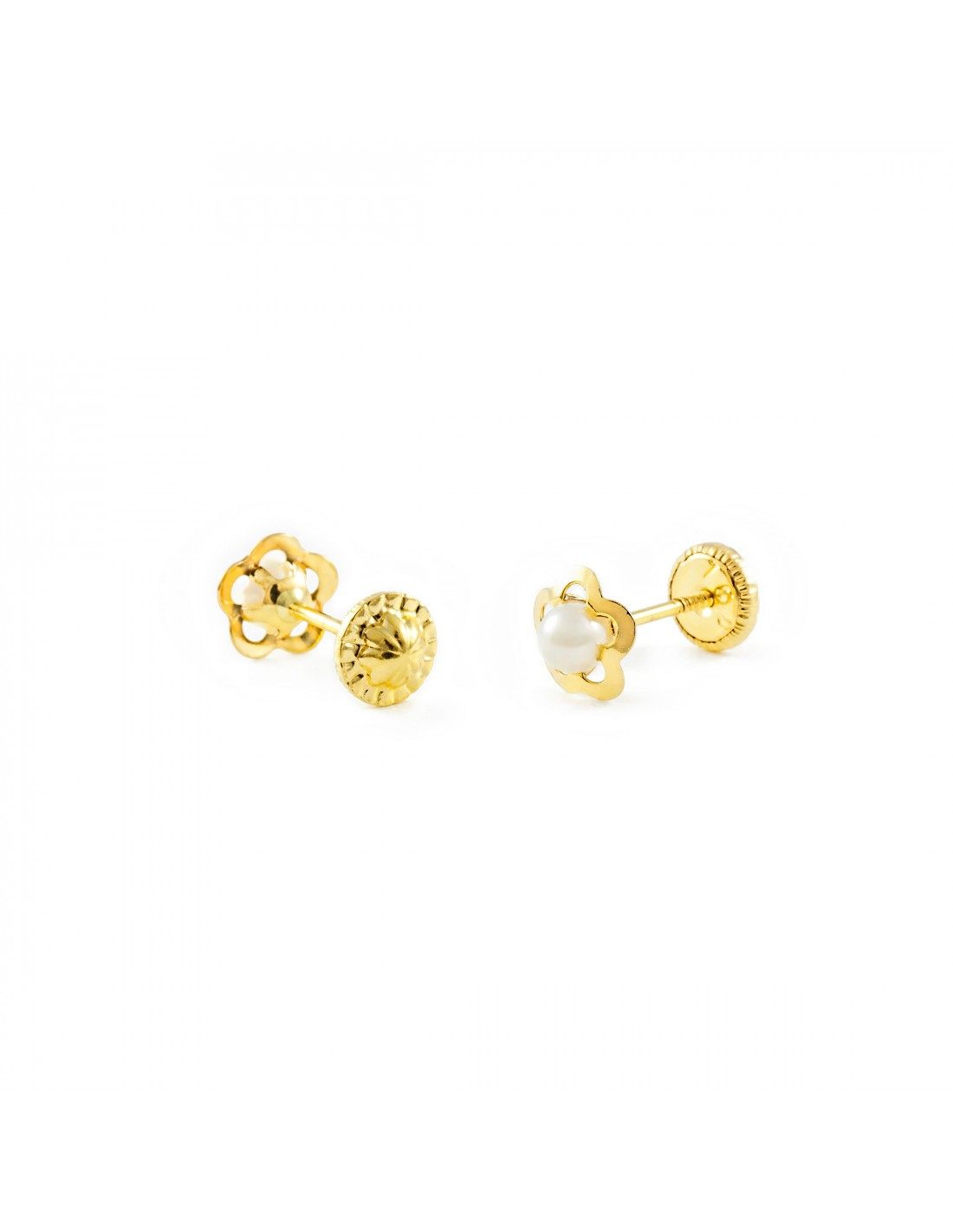 18ct Yellow Gold flower pearl Baby Earrings T1879P