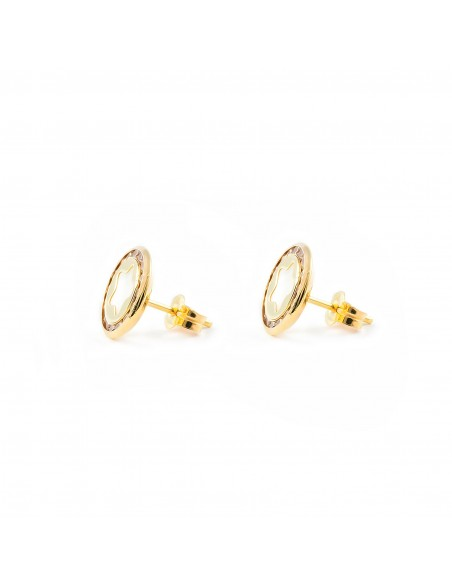 9ct Yellow Gold round Star nacre Earrings