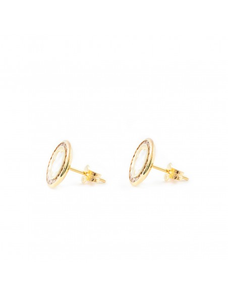 9ct Yellow Gold round Daisy flower nacre Earrings