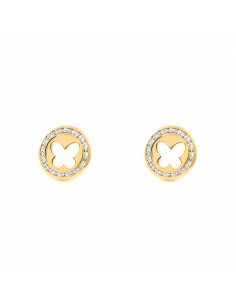 9ct Yellow Gold round butterfly nacre Earrings