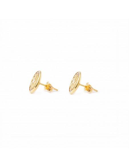 9ct Yellow Gold round Flower nacre Children's Earrings