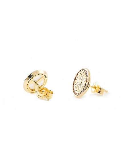 9ct Yellow Gold round Flower nacre Children's Earrings