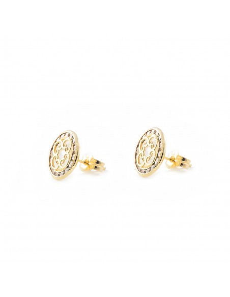 9ct Yellow Gold round spirals nacre Children's Earrings