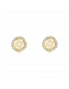 Boucles d'Oreilles ronde spirales nacre Or Jaune 9 Carats