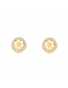 9ct Yellow Gold round hearts nacre Earrings