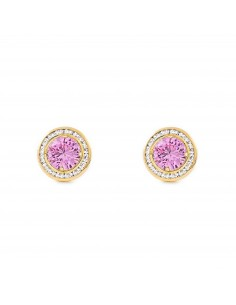 9ct Yellow Gold round with pink zircon Earrings