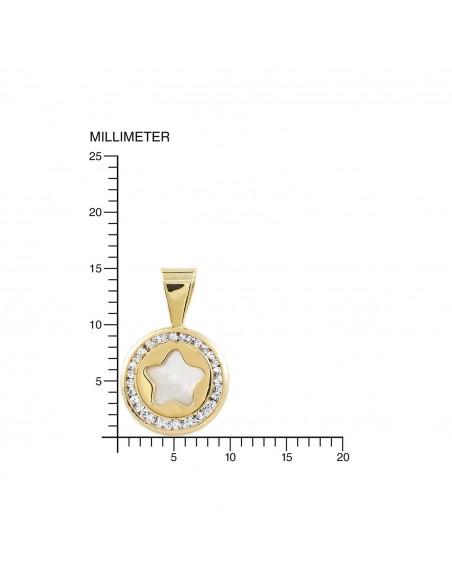 9ct Yellow Gold round Star nacre Pendant