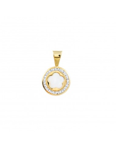 9ct Yellow Gold round Daisy flower nacre Pendant