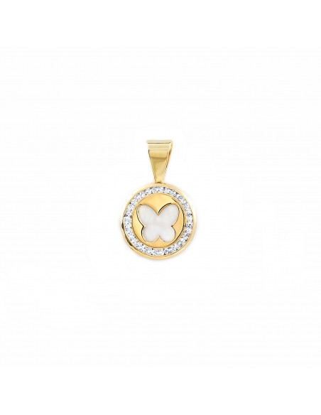 9ct Yellow Gold round butterfly nacre Pendant