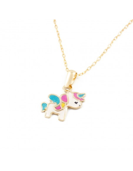 9ct Yellow Gold Enamel Unicorn Children's Pendant