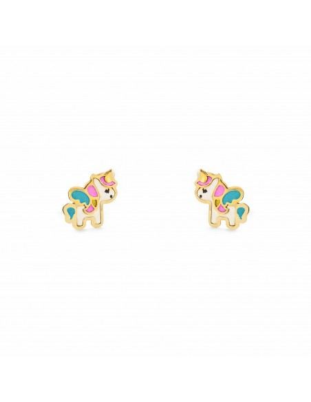 9ct Yellow Gold Enamel Unicorn Children's Earrings