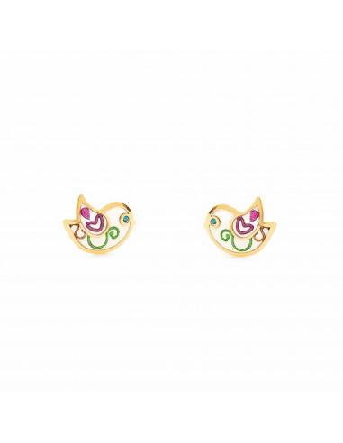 9ct Yellow Gold Enamel bird Children's Earrings