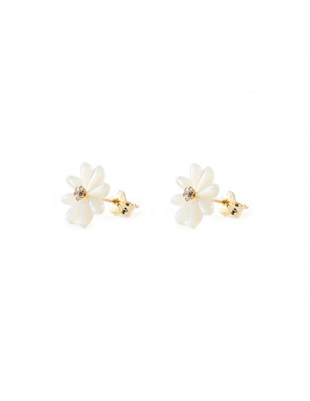 9ct Yellow Gold nacre flower Children's Earrings