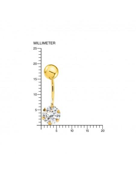 9ct Yellow Gold with zircon 6 mm navel Piercing