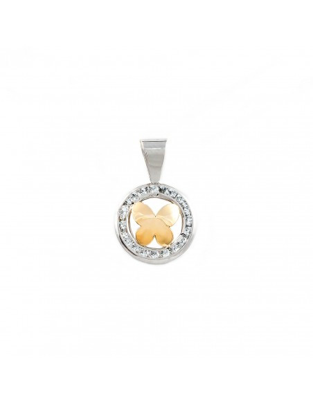 9ct 2 Colour Gold round butterfly Children's Pendant