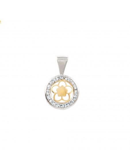 9ct 2 Colour Gold round daisy flower Children's Pendant