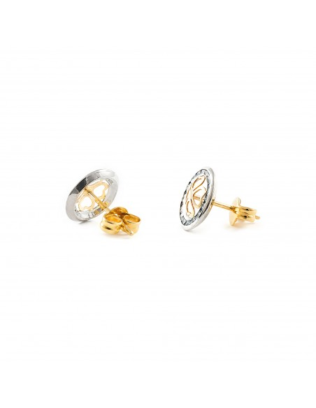 9ct 2 Colour Gold round hearts Children's Earrings