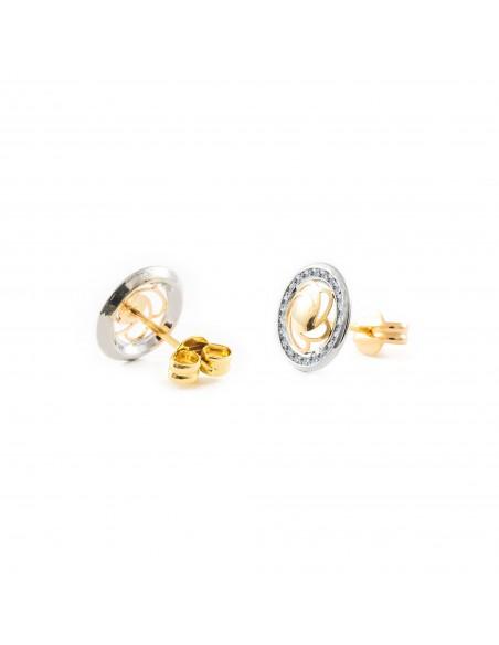9ct 2 Colour Gold round flower Children's Earrings