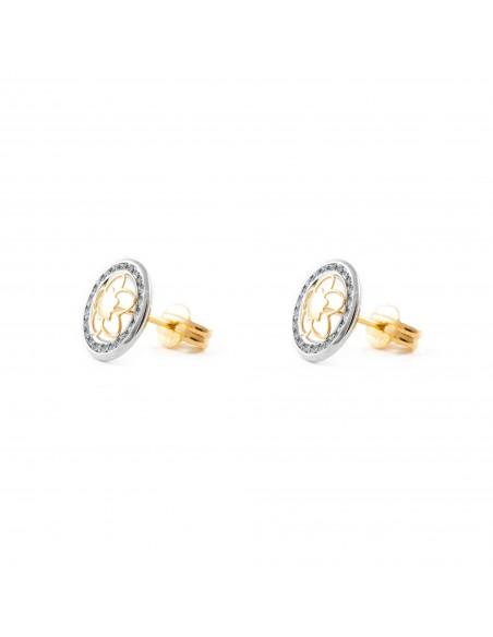 9ct 2 Colour Gold round daisy flower Children's Earrings