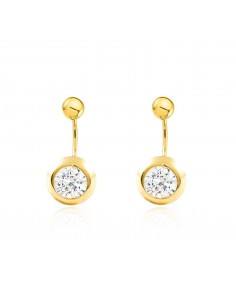9ct Yellow Gold with ball 5 mm and zircon double Earrings