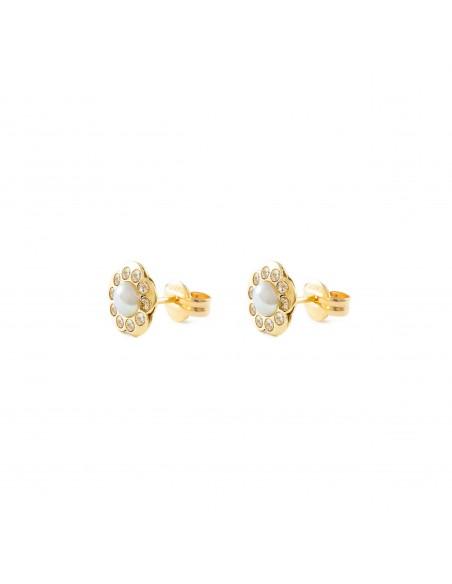 Boucles d'Oreilles Enfant fleur perle Or Jaune 9 Carats