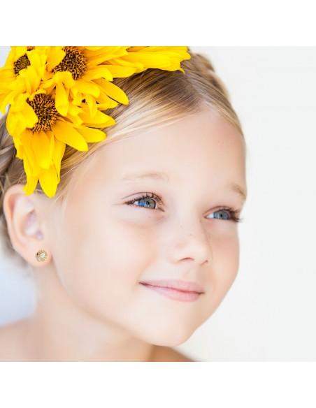 9ct Yellow Gold flower pearl Children's Earrings