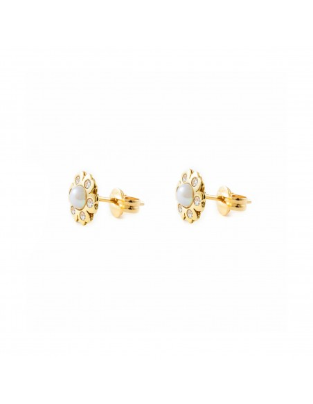 9ct Yellow Gold flower pearl Children's Earrings