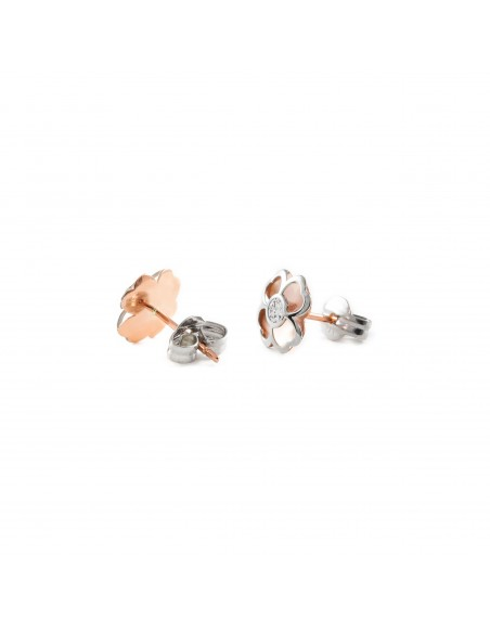 9ct two color Gold clover Children's Earrings