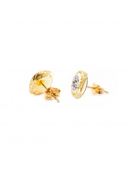 9ct Yellow Gold square and zircon Earrings