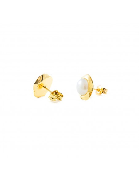 9ct Yellow Gold Daisy flower pearl Earrings
