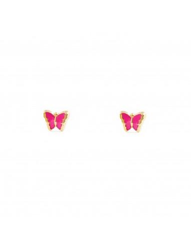 Giallo 9k375 Orecchini Rosa Farfalla Oro Bambini Per Y76ybfg