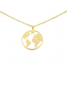 925 Sterling Silver Golden the wolrd necklace