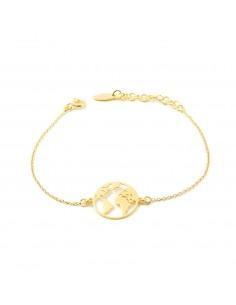 925 Sterling Golden Silver the world bracelet