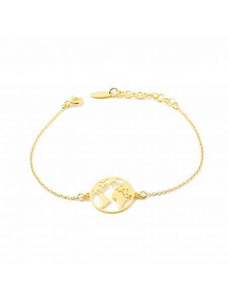 925 Sterling Golden Silver the world bracelet