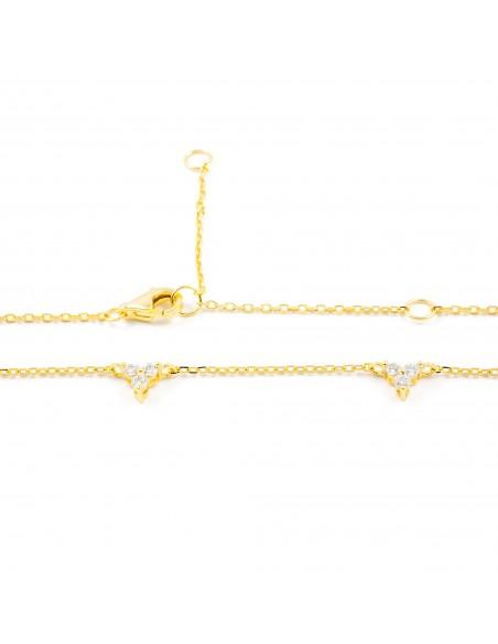 925 Sterling golden silver zirconia necklace