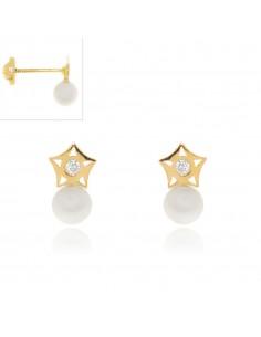 Pendientes Perla con Estrella Calada y Circonita