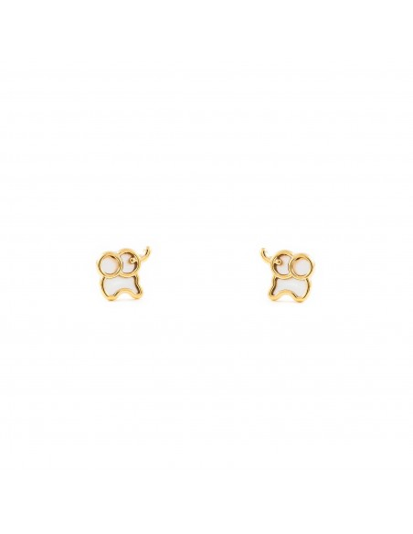 9ct Yellow Gold elephant nacre Children's Earrings
