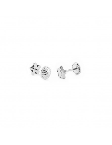 9ct White Gold Star Baby Earrings