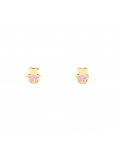 9ct Yellow Gold pink bear Children's Earrings
