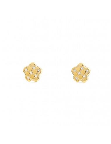 9ct Yellow Gold flower with zircon Children's Earrings