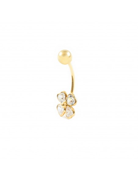 18ct Yellow Gold clover with zircons navel Piercing