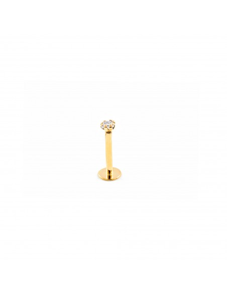 9ct Yellow Gold zircon 2x2 lip Piercing