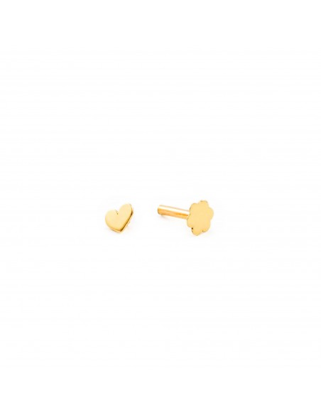 9ct Yellow Gold heart 4 mm cartilage Piercing