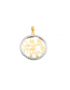 "9ct two color Gold round ""te quiero mama"" Pendant"