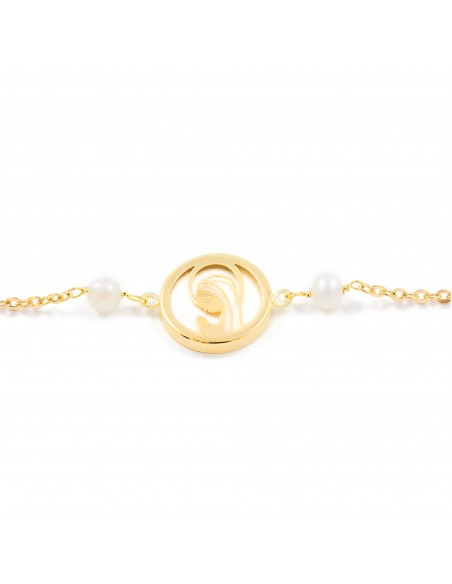 18ct Yellow Gold Virgin nacre and pearls Children's Bracelet