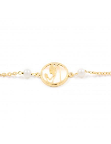 Bracelet Enfant Vierge Nacre et Perles Or Jaune 18 Carats
