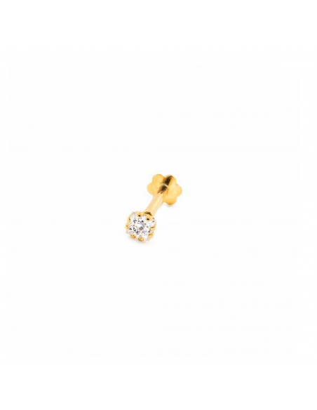 9ct Yellow Gold zircon 2,5 mm cartilage Piercing