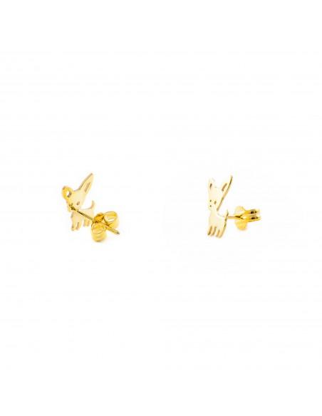 9ct Yellow Gold Chihuahua dog Children's Earrings