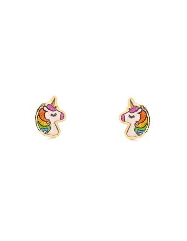 Pendientes Oro Niña Unicornio Esmaltado (9kts)