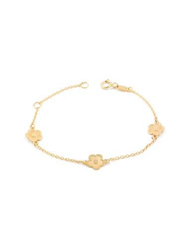 9ct Yellow Gold daisy flowers Children's bracelet